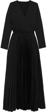 Vanessa Bruno Helie Pleated Satin Wrap-effect Midi Dress - Black