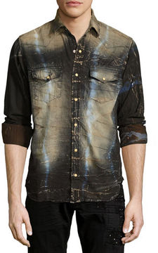 Robin's Jeans Tie-Dye Denim Western Shirt with Wings