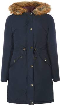 Dorothy Perkins Navy and Berry Red Reversible Parka Coat