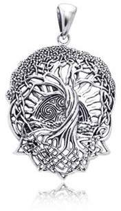 Celtic Bling Jewelry Rising Sun Knot Tree Of Life Stelring Silver Pendant.