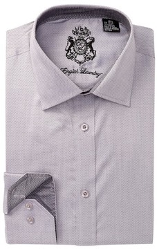 English Laundry Pin Dot Pattern Trim Fit Dress Shirt