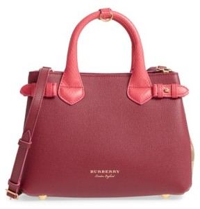 Burberry Small Banner - Derby House Check Leather Satchel - Pink - PINK - STYLE