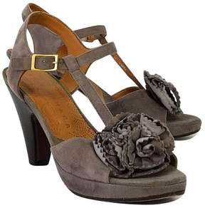 Chie Mihara Grey Suede Floral Sandals