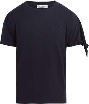 J.W.Anderson Logo-embroidered knotted-sleeve cotton T-shirt