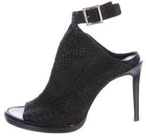 Helmut Lang Leather Embossed Peep-Toe Booties