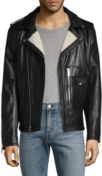 Karl Lagerfeld Men's Asymmetrical Leather Moto Jacket