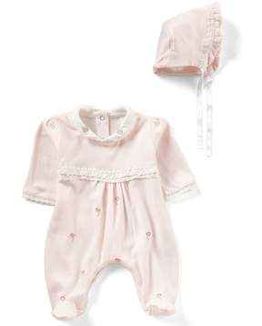 Edgehill Collection Baby Girls Newborn-6 Months Embroidered Footed Coverall & Bonnet Set