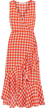 Diane von Furstenberg Ruffled Gingham Stretch-silk Wrap-effect Midi Dress - Red