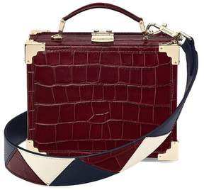 Aspinal of London Mini Trunk Clutch In Deep Shine Bordeaux Croc With Zig Zag Strap
