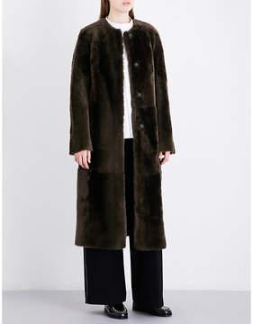 Drome Ladies Brown Collarless Reversible Shearling And Suede Coat