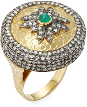 Artisan Women's Antique 14K Gold and Silver Diamond and Emerald Ring