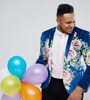 Asos PLUS Super Skinny Suit Jacket In Velvet With Teal Floral Print