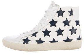 Saint Laurent Star-Appliqué High-Top Sneakers