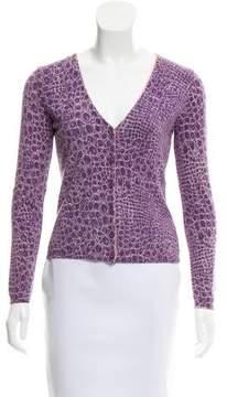 Blumarine Velvet-Trimmed Printed Cardigan