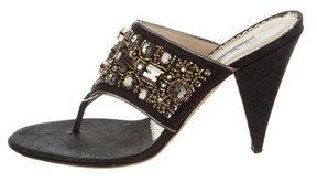 Oscar de la Renta Embellished Thong Sandals