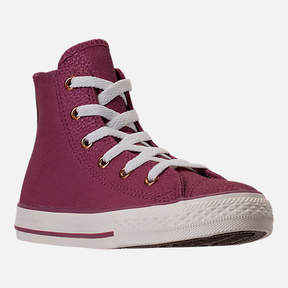 Converse Girls' Grade School Chuck Taylor High Top Leather Casual Shoes