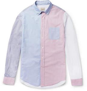 Lardini Wooster + Slim-Fit Colour-Block Striped Cotton Shirt