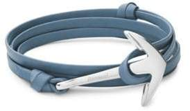 Miansai Stainless Steel and Leather Anchor Bracelet