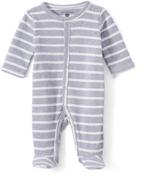 Petit Lem Gray & White Stripe Footie - Newborn & Infant