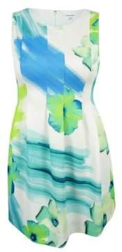 Calvin Klein Women's Petite Floral Scuba Fit & Flare Dress