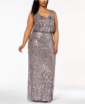 Betsy & Adam Plus Size Sequined Blouson Gown