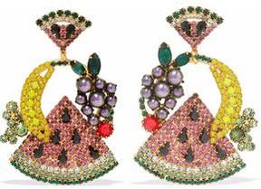 Elizabeth Cole 24-Karat Gold-Plated Swarovski Crystal And Faux Pearl Earrings