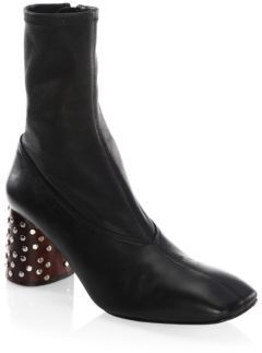 Helmut Lang Studded Heel Stretch Leather Booties
