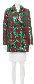 Au Jour Le Jour Rose Jacquard Double-Breasted Coat