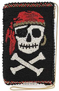 Mary Frances Walk The Plank Beaded Pirate Skull and Crossbones Crossbody Phone Bag