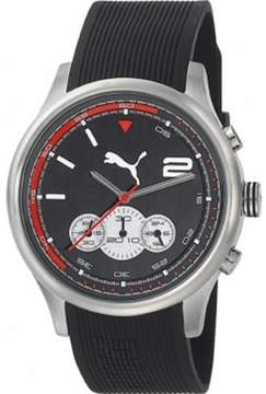 Puma Men Motor PU102741002 Black Rubber Quartz Watch with Black Dial