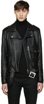 Saint Laurent Black Leather Fringed Jacket
