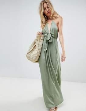Asos Woven Tie Front Maxi Beach Dress