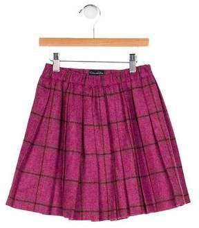 Oscar de la Renta Girls' Wool Plaid Skirt