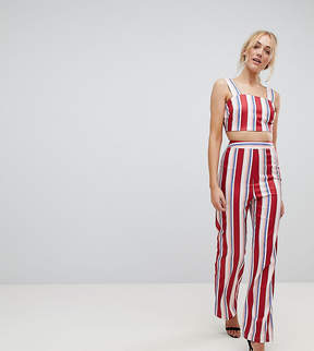 Fashion Union Tall Wide Leg High Waisted Pants In Stripe Two-Piece