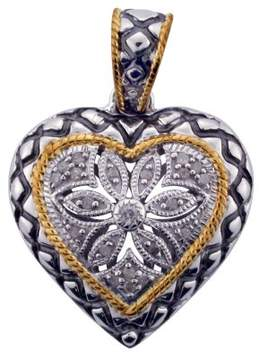 Armani Exchange Jewelry Diamond Two Tone Gold Plated Heart Pendant in Sterling Silver (0.11 cts, H-I I3)
