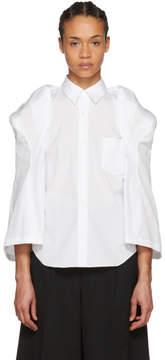 Comme des Garcons White Sculptural Sleeve Broadcloth Shirt