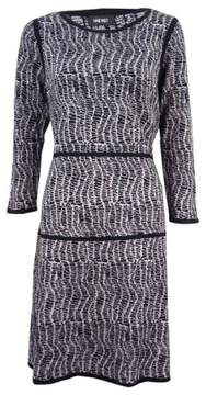Nine West Women's Printed 3/4 Sleeve A-Line Sweater Dress