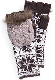 Muk Luks Women's Snowflake Long Flip Mittens