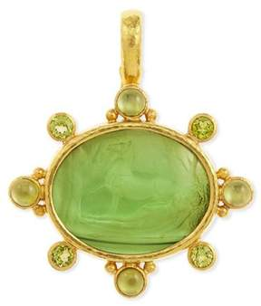 Elizabeth Locke Horse with Sleeping Maiden Antique 19k Gold Intaglio Pendant, Green