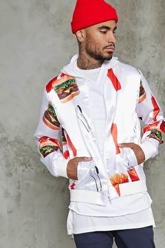 21men 21 MEN Fast Food Graphic Bomber Jacket