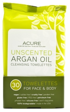 Acure Organics Unscented Argan Oil Cleansing Towelettes for Face & Body