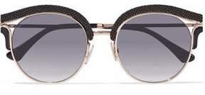 Jimmy Choo Embellished Cat-Eye Rose Gold-Tone Sunglasses