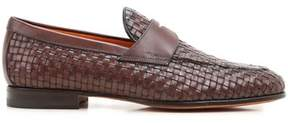 Santoni Men's Brown Leather Loafers.