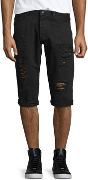 PRPS Distressed Slim-Fit Denim Shorts, Black