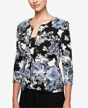 Alex Evenings Glitter Floral-Print Jacket & Shell