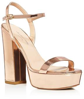 Charles David Retro Metallic Leather Platform High Heel Sandals