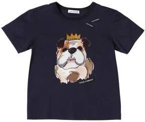 Dolce & Gabbana Bulldog Printed Cotton Jersey T-Shirt