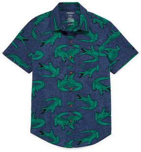 Arizona Short Sleeve Button-Front Shirt- Boys 4-20