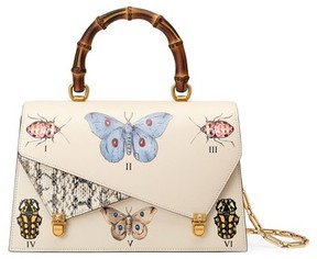 Gucci Medium Linea P Butterfly Painted Leather & Genuine Snakeskin Top Handle Satchel - White - WHITE - STYLE