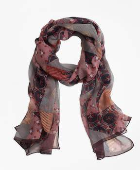 Brooks Brothers Silk-Chiffon Foulard Oblong Scarf